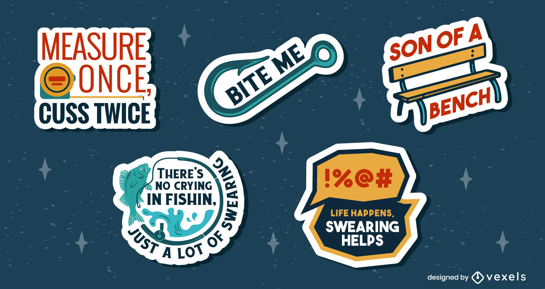 Funny quotes and puns badge flat set