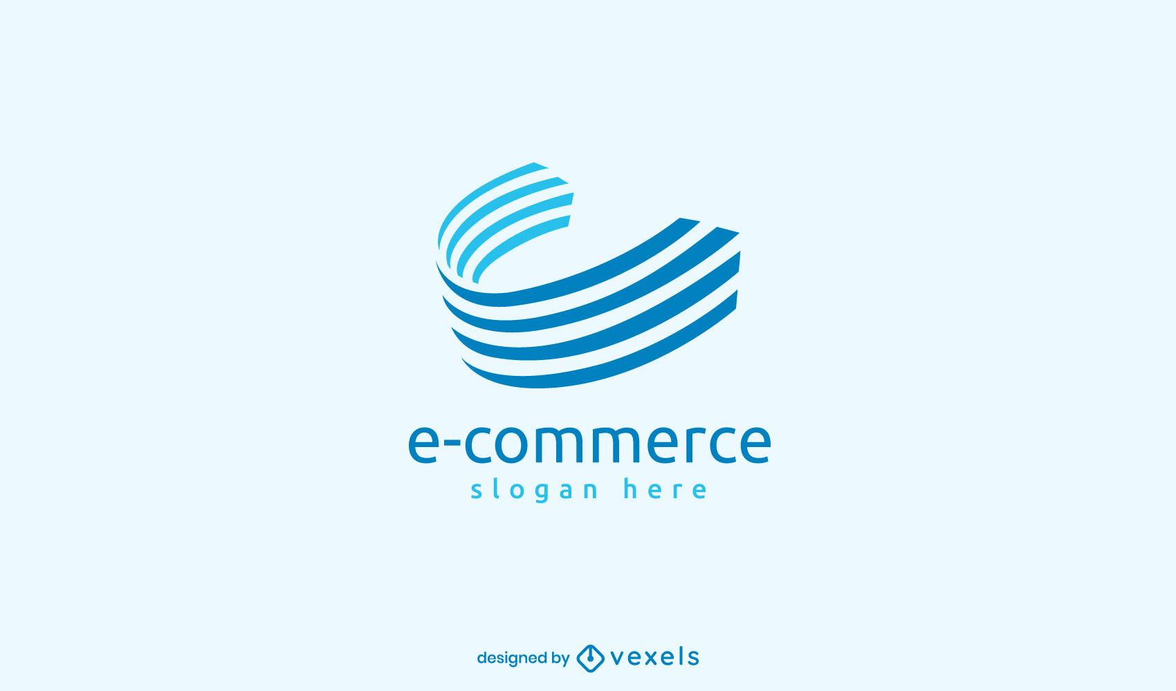Logotipo de rayas 3D de comercio electr?nico