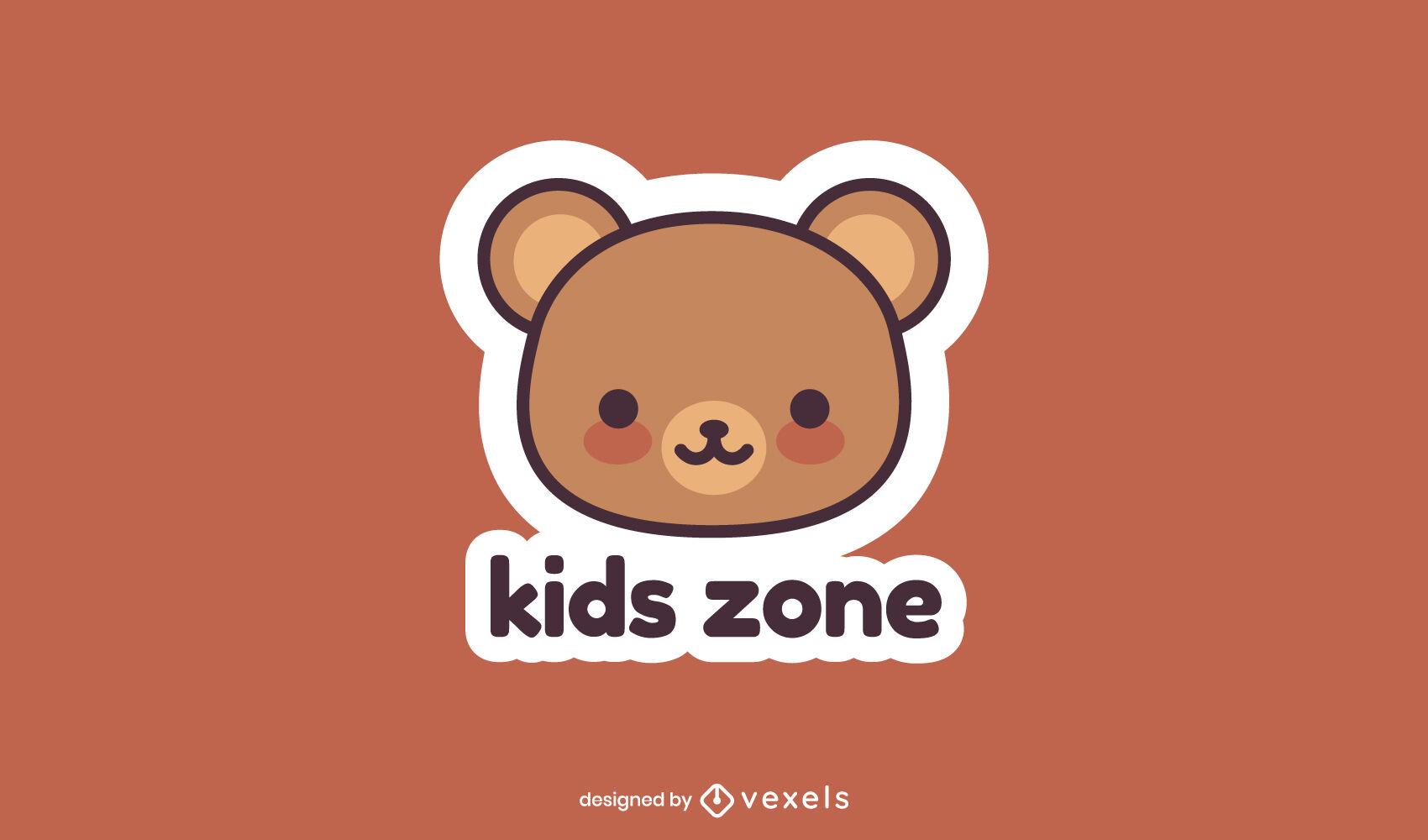 Cute teddy bear kids logo