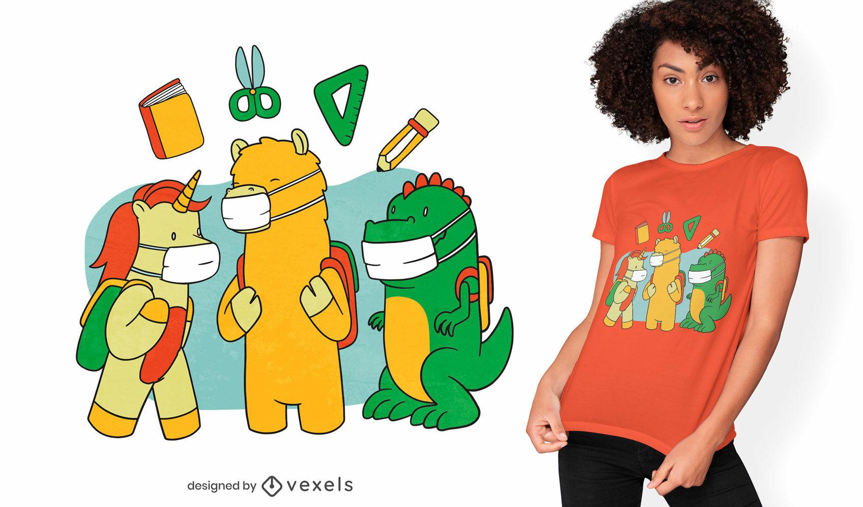 Tiere im T-Shirt-Design mit Gesichtsmasken