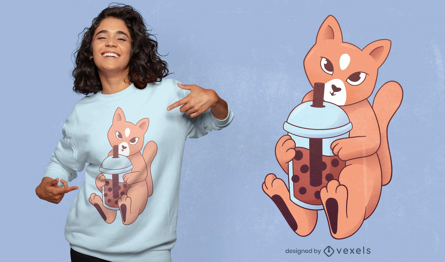 Dise?o de camiseta de gato bebiendo t? de burbujas