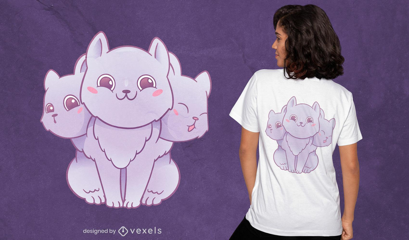 Design de camiseta com criatura de gato de três cabeças