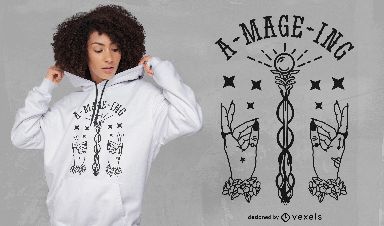Magical hands fantasy t-shirt design