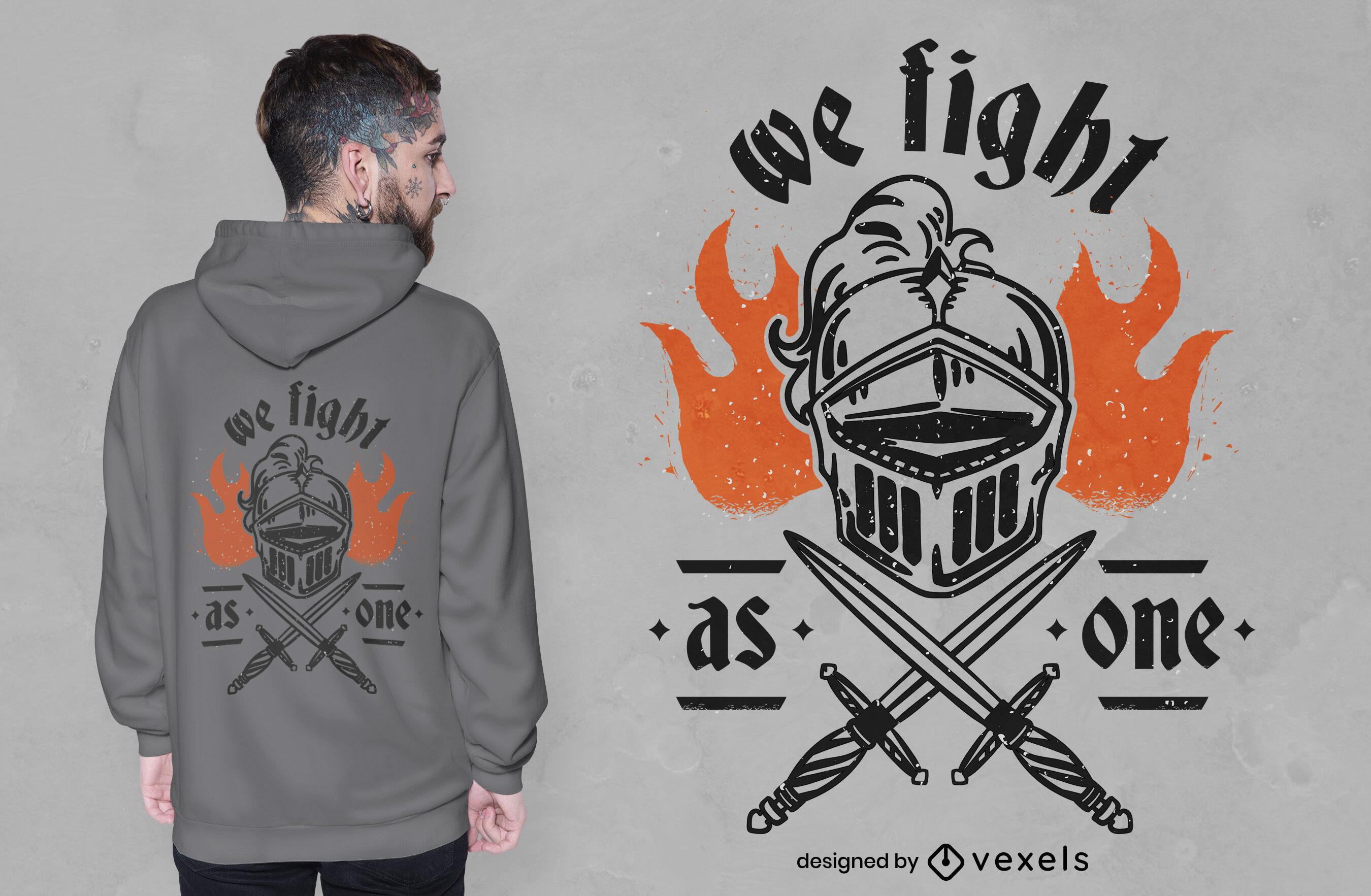 Knight helmet and swords t-shirt design