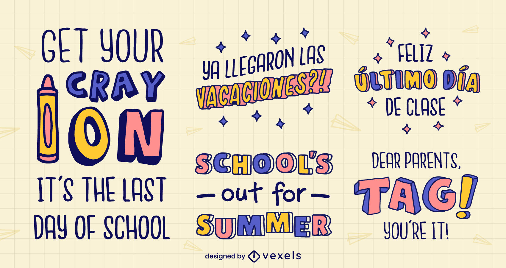 School break vacations set of badges quotes
