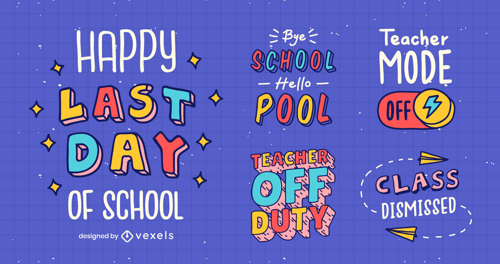 School break vacations lettering badges and quotes