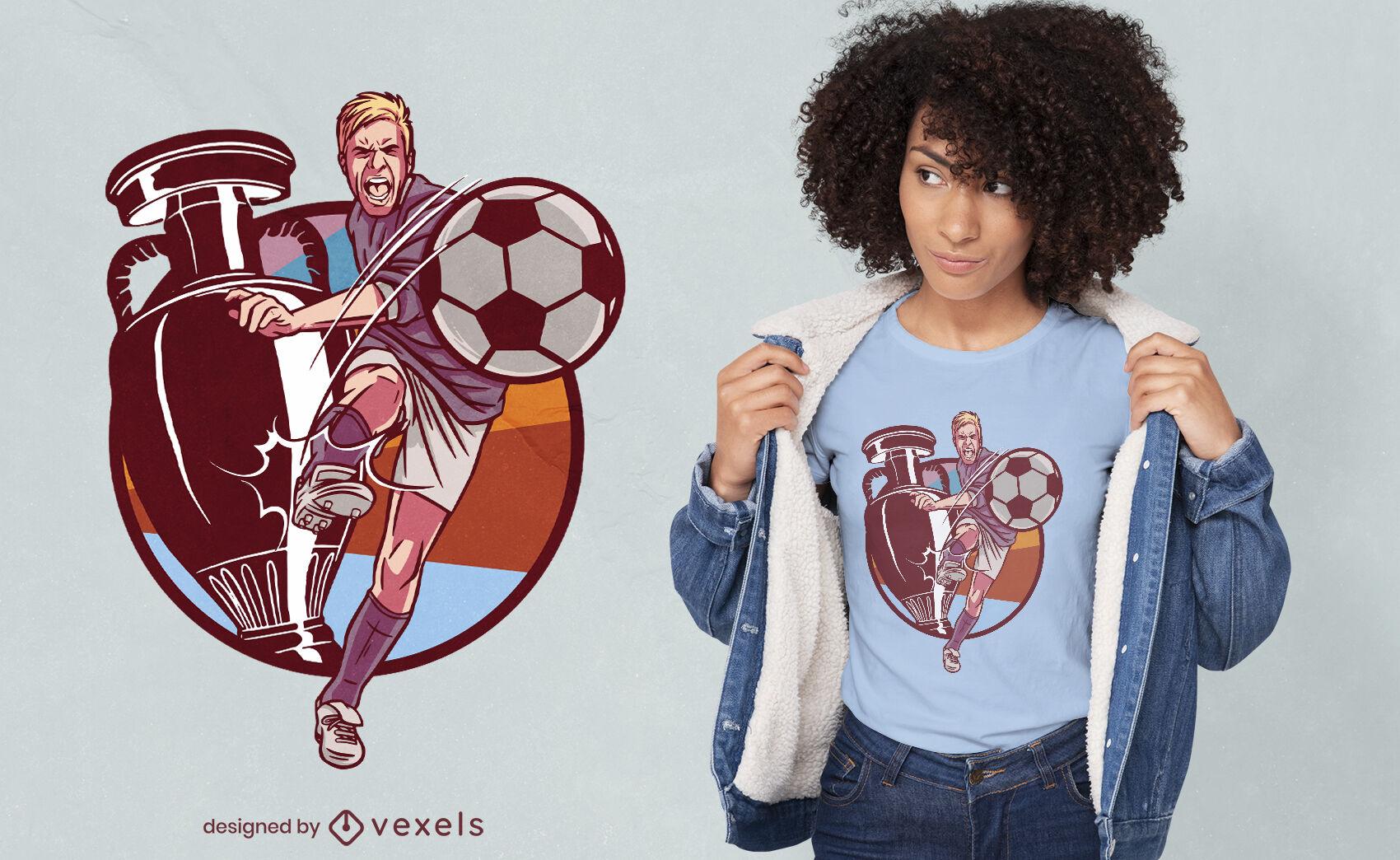 Design de camiseta troféu para jogador de futebol esportivo