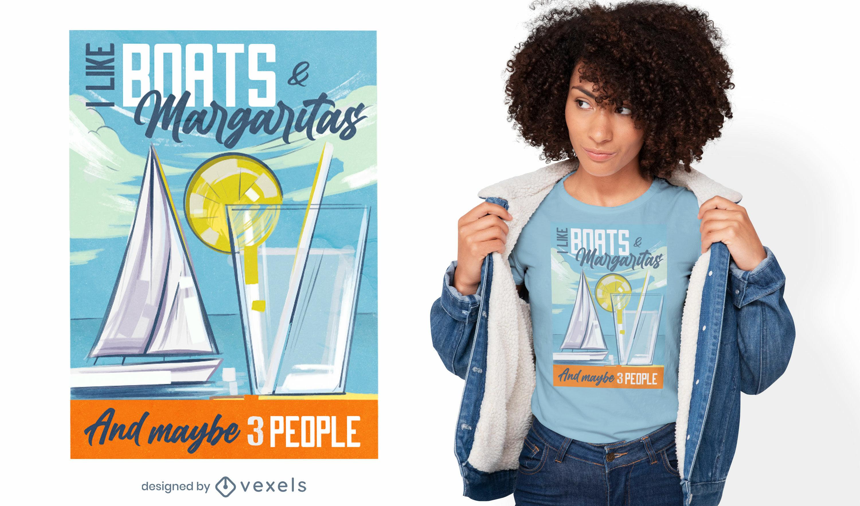Diseño de camiseta de velero y margarita.