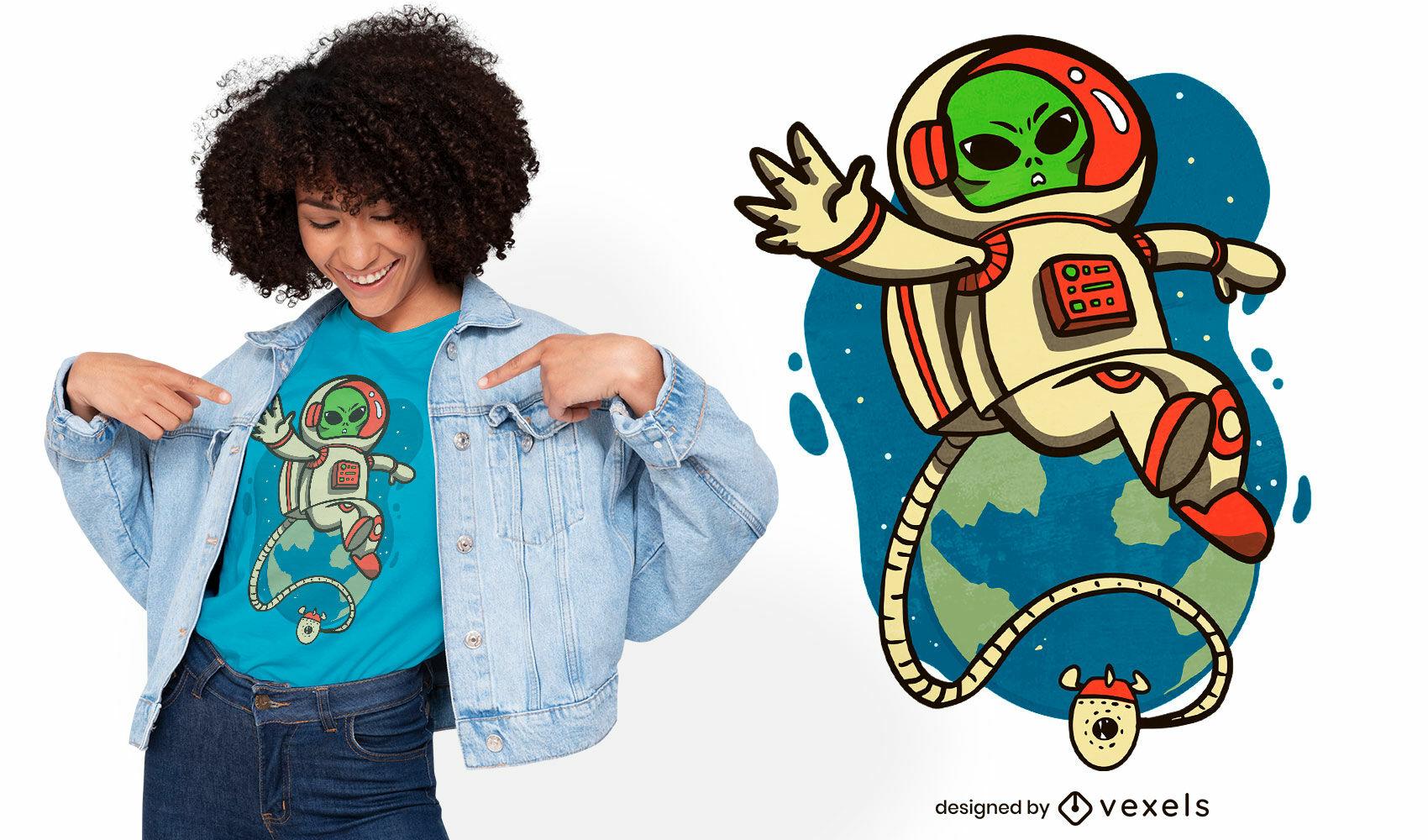 Astronaut alien cartoon space t-shirt design