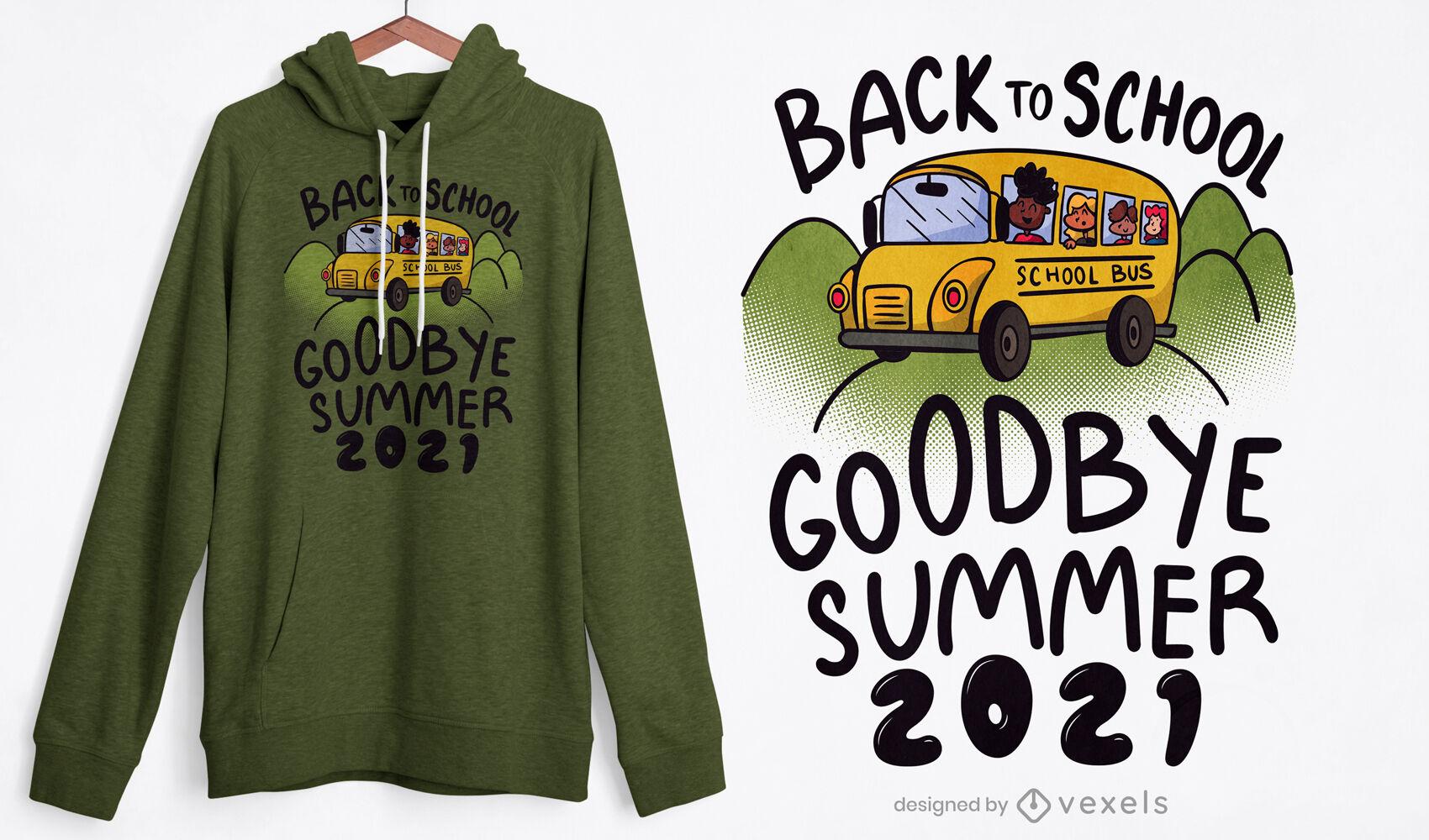 Diseño de camiseta de dibujos animados de autobús escolar para niños