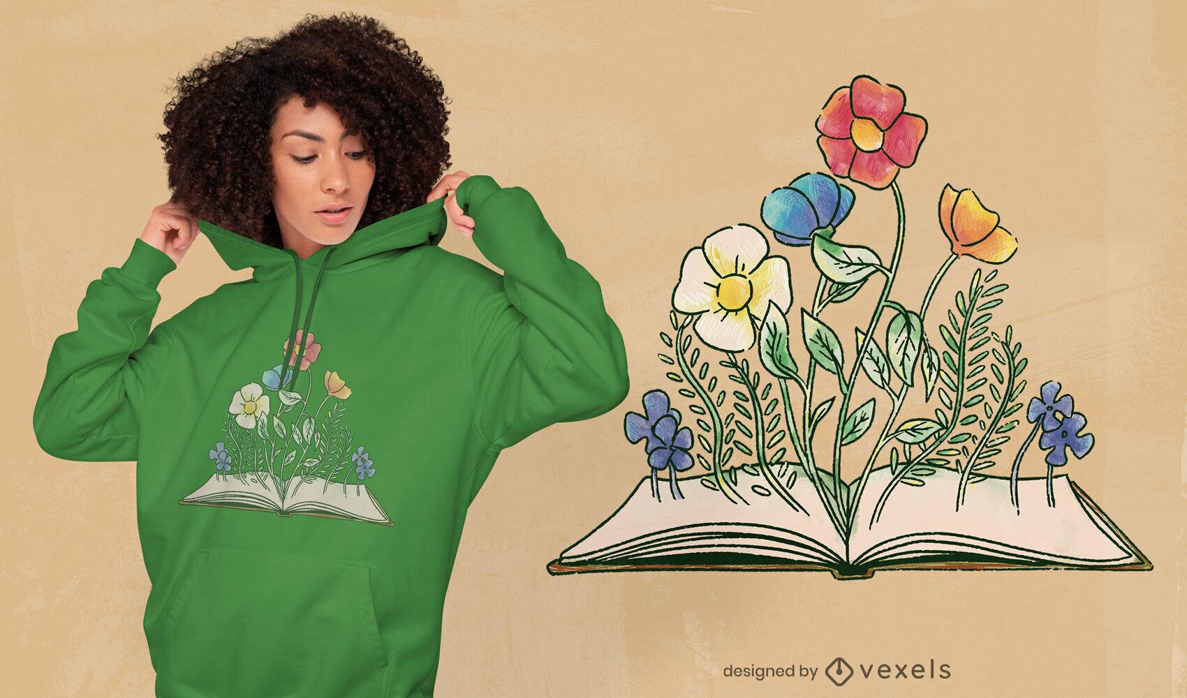 Libro con flores camiseta psd