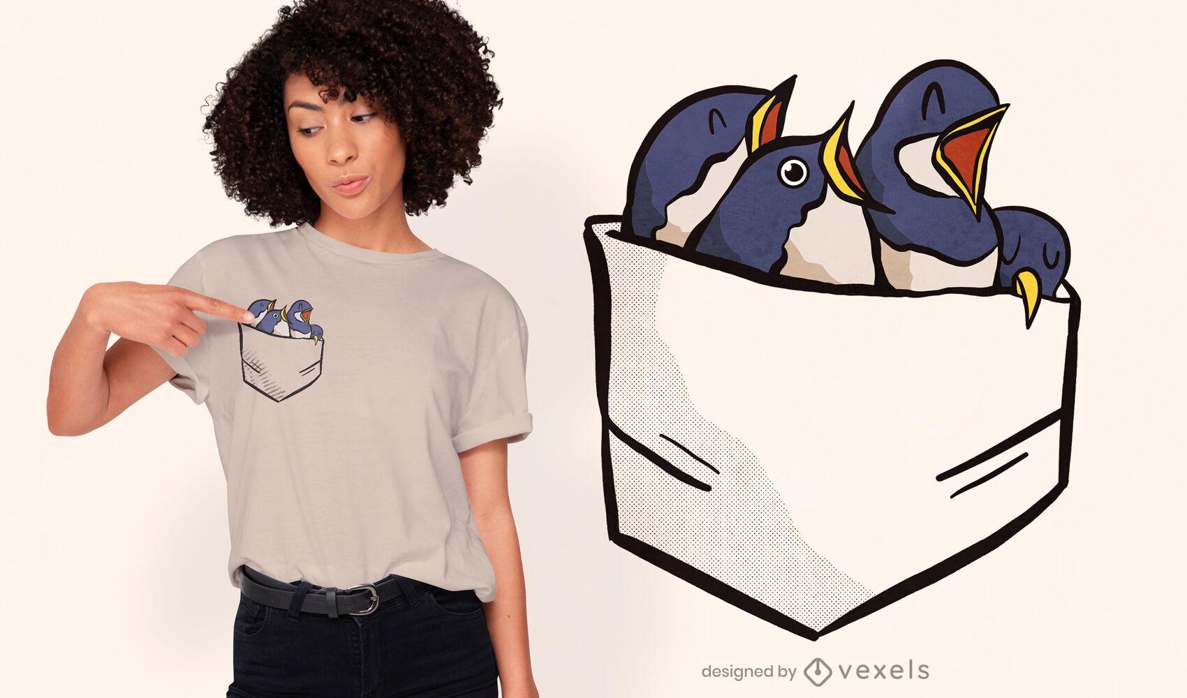 Pajaritos en el bolsillo de la camisa diseño de camiseta