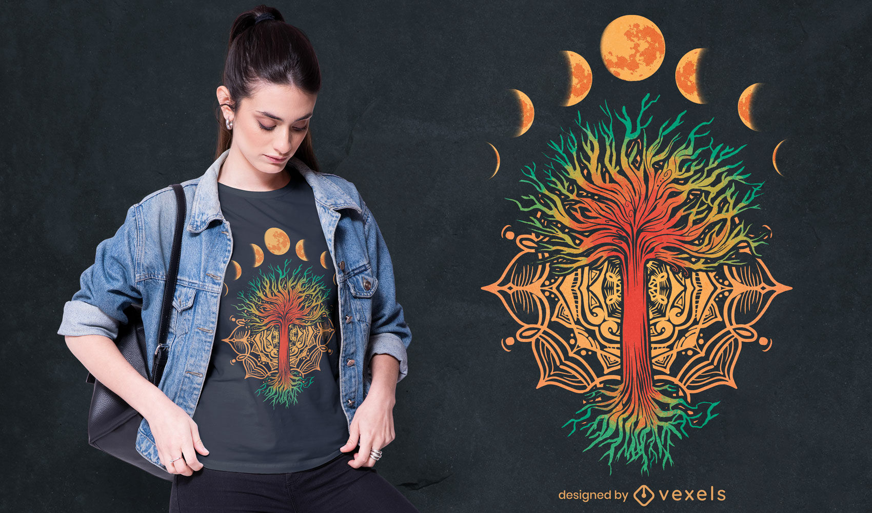 Design de t-shirt da natureza da mandala das fases da lua