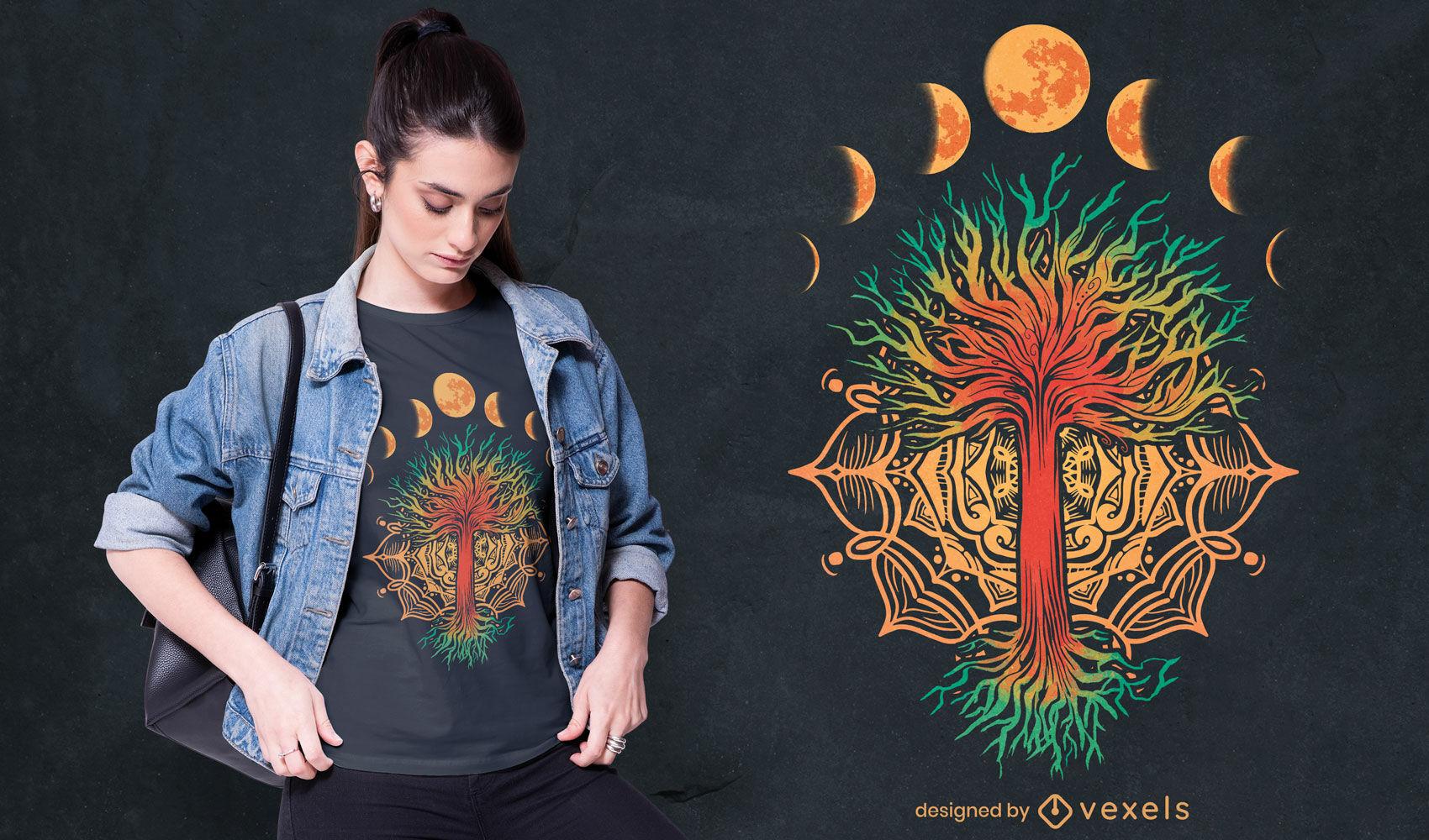Diseño de camiseta de la naturaleza de la mandala de las fases de la luna.