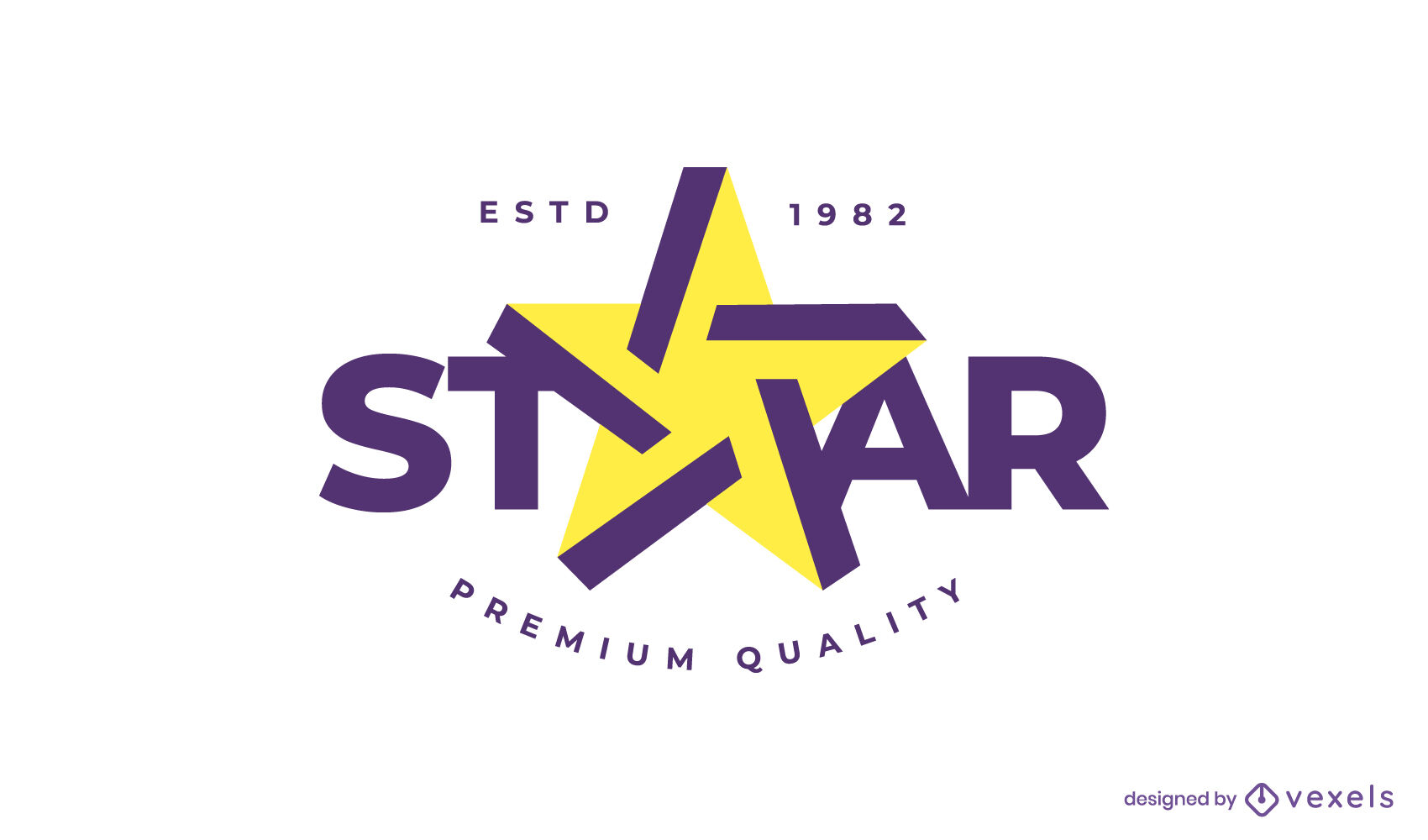 Logotipo plano en forma de estrella