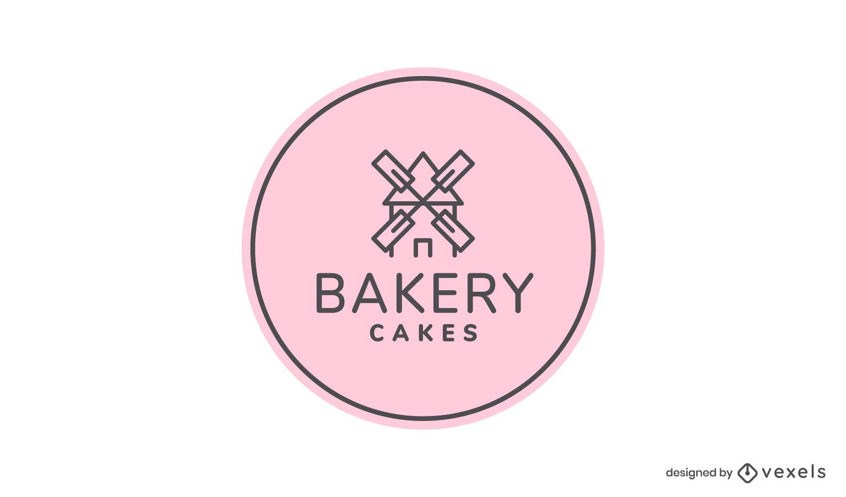 Trazo de molino de viento en el logo de panadería circular
