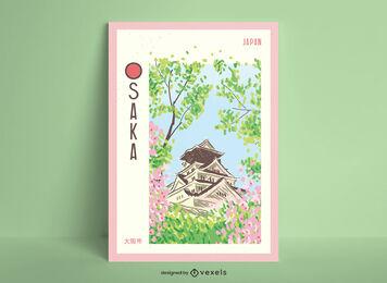 Osaka city hand drawn poster design