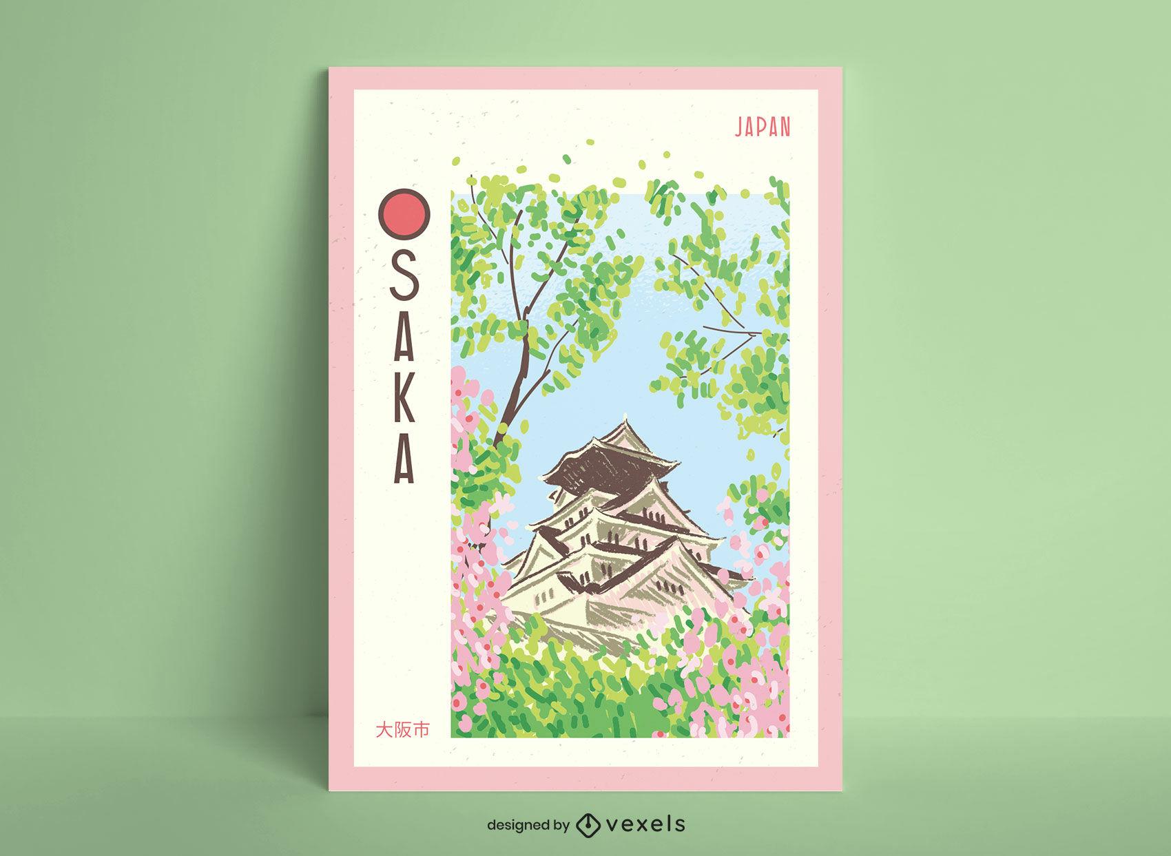 Diseño de cartel dibujado a mano de la ciudad de Osaka
