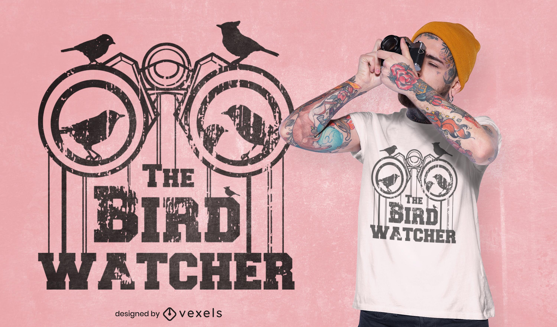 Diseño de camiseta de binoculares de observación de aves.