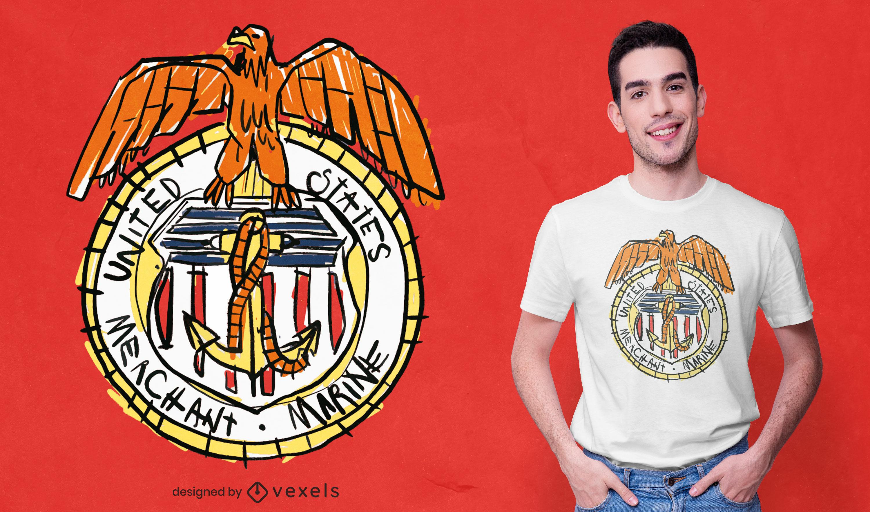USA marine badge doodle t-shirt design