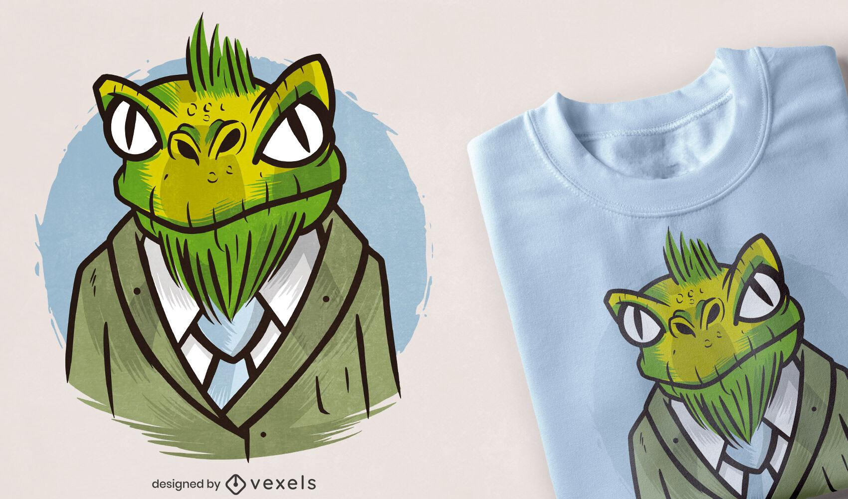 Dise?o de camiseta de traje de dibujos animados de lagarto