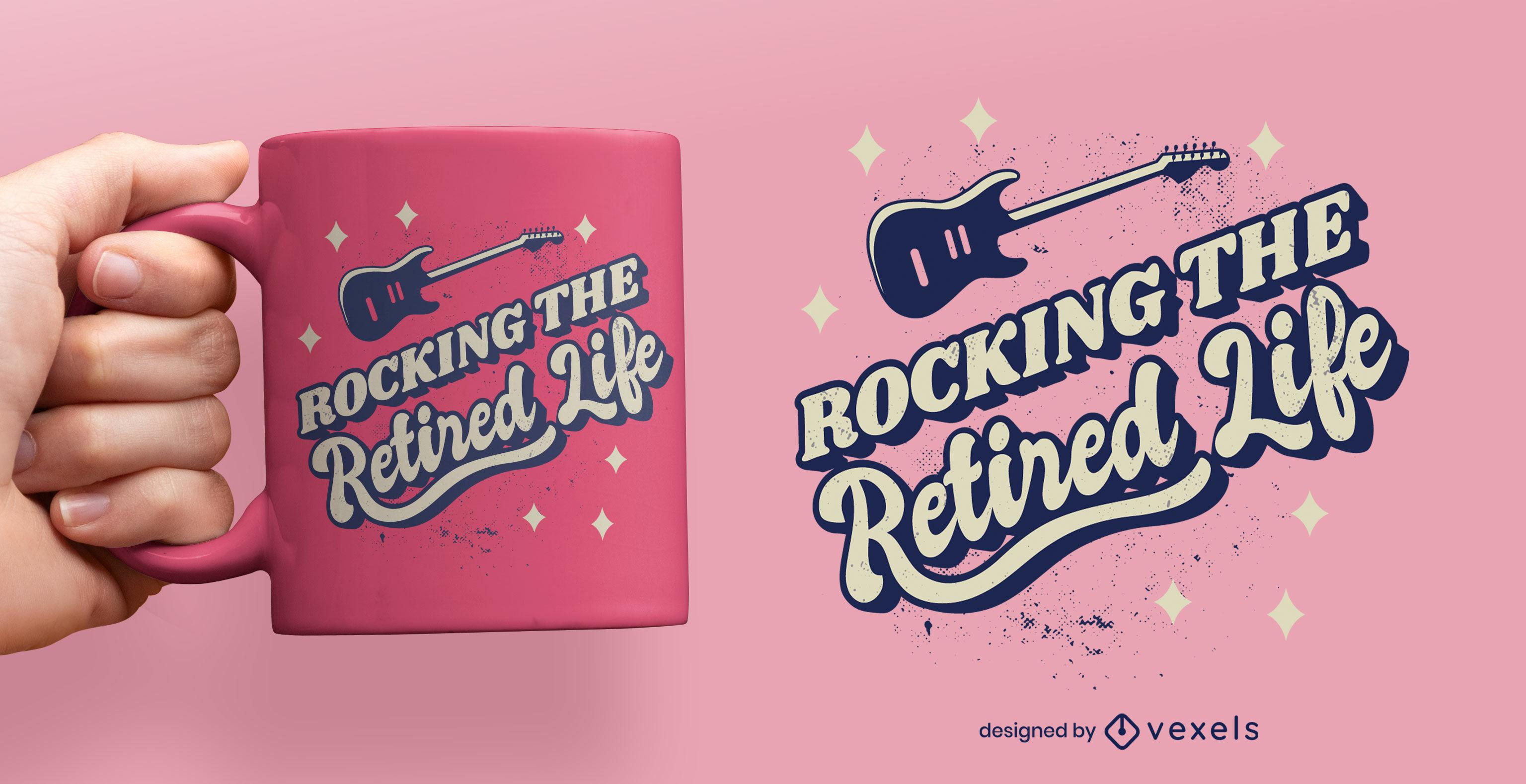 Retired life quote retro mug design