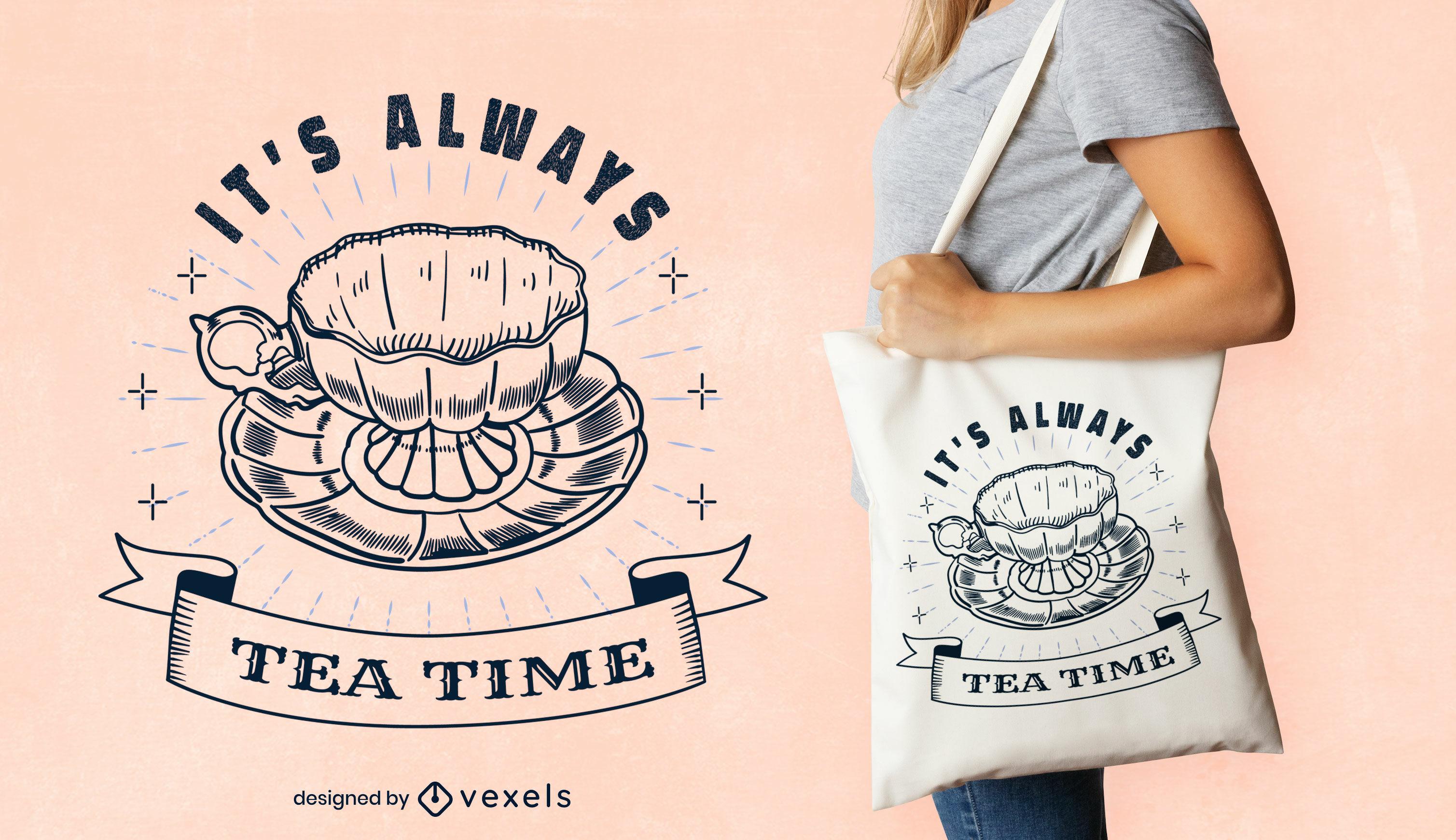 Dise?o de la bolsa de asas del trazo de la bebida de la hora del t?