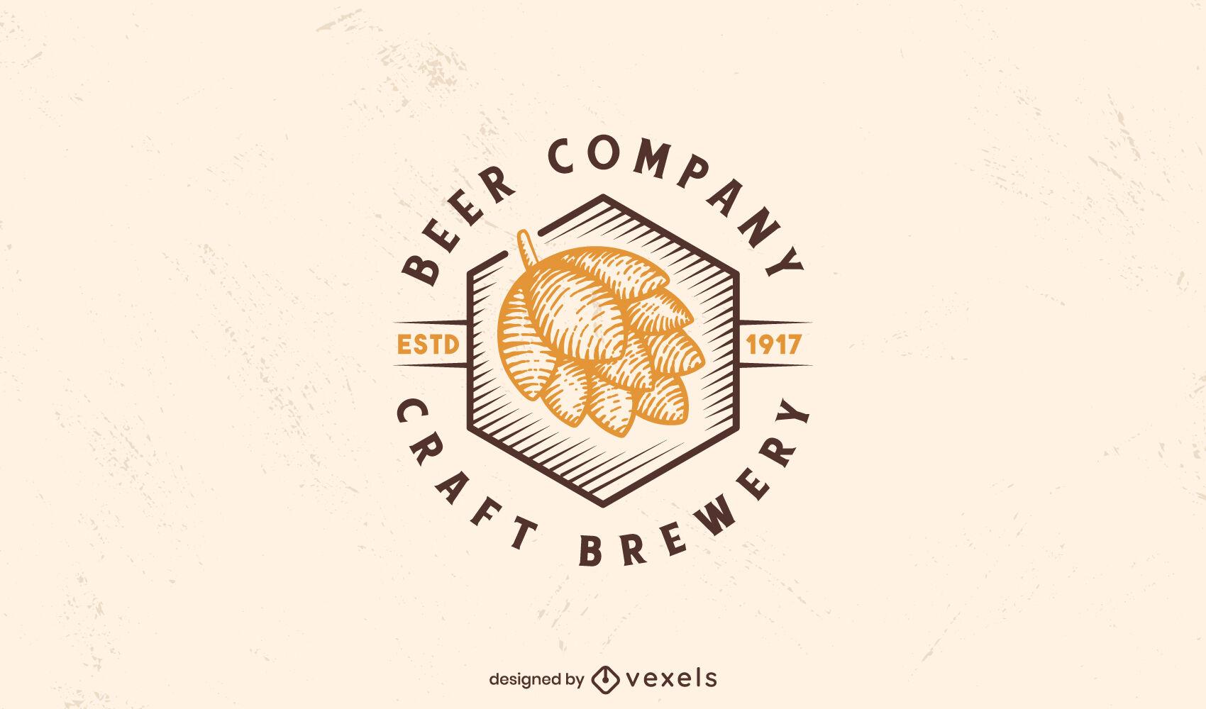 Hand drawn beer hop logo