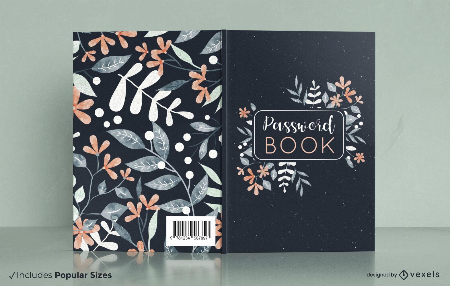 Design floral da capa do livro da natureza aquarela