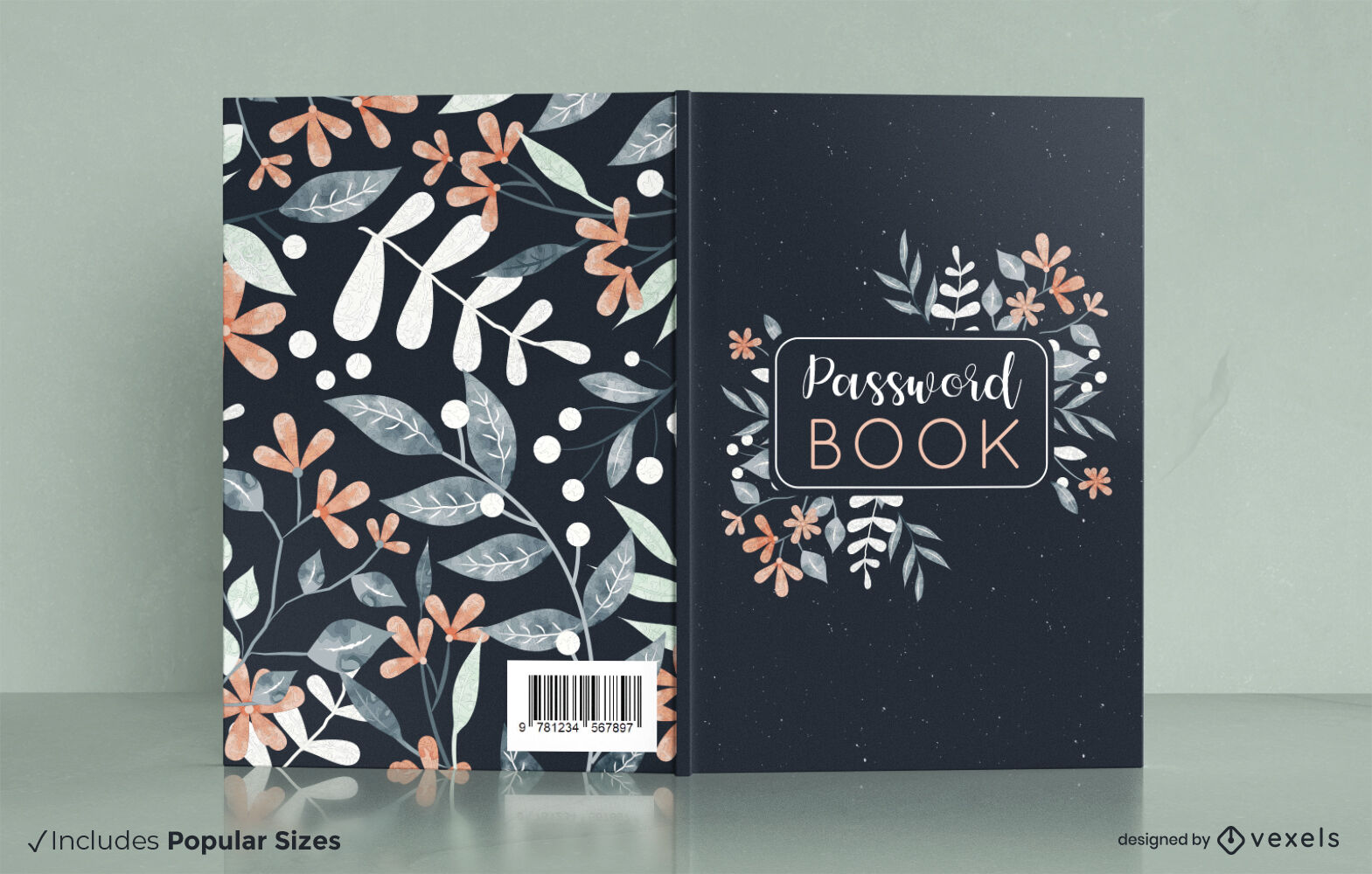 Diseño de portada de libro de naturaleza acuarela floral