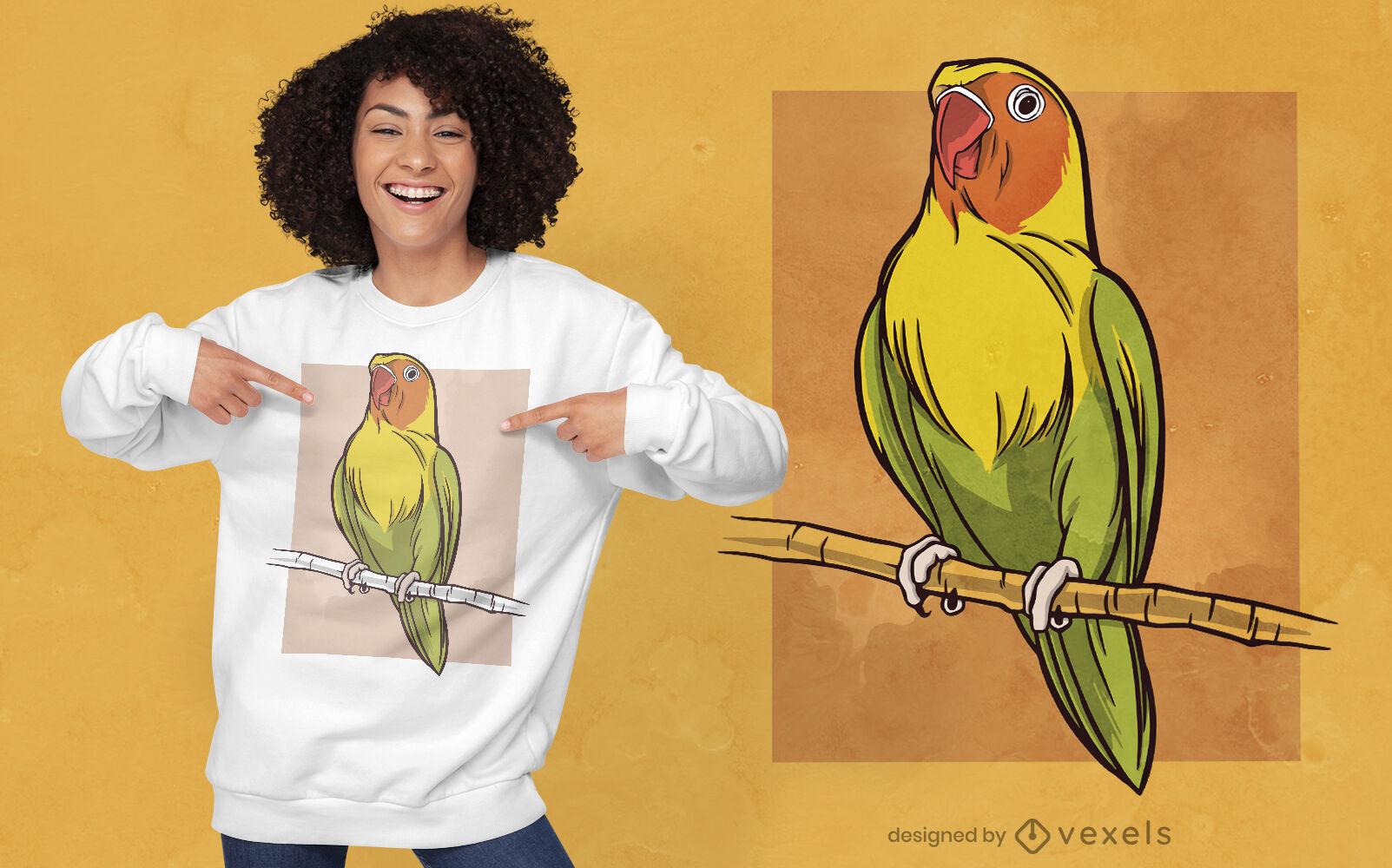 Diseño de camiseta animal pájaro africano amor