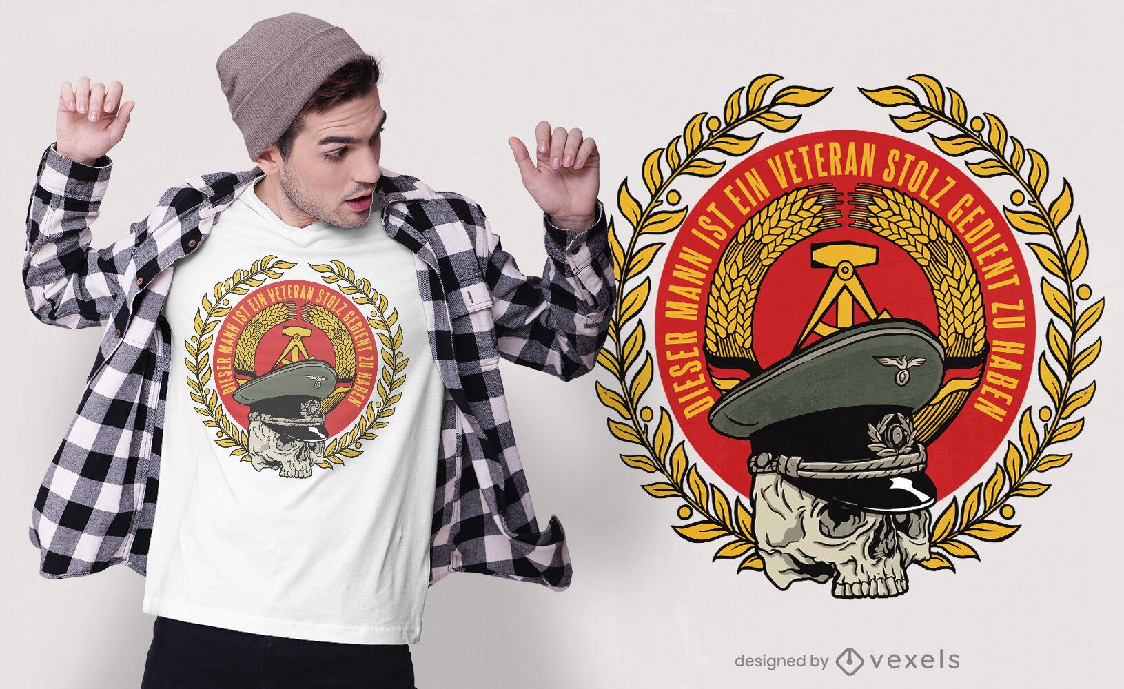 Design de camiseta com crachá do exército veterano alemão