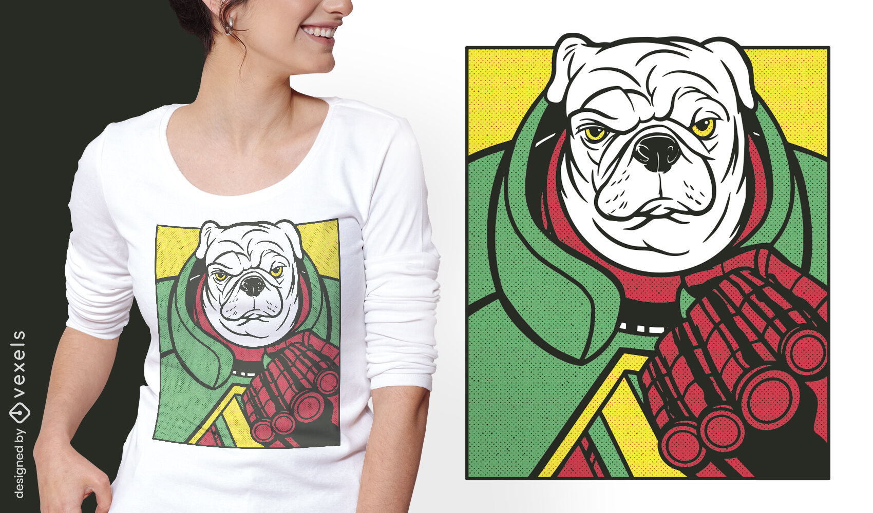 Diseño de camiseta de personaje cómico de perro enojado