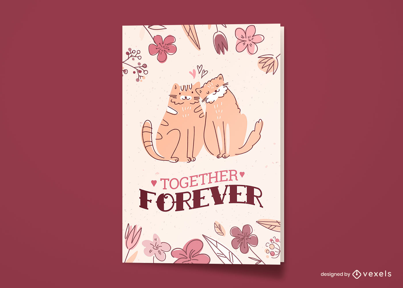 Cat animals in love doodle greeting card