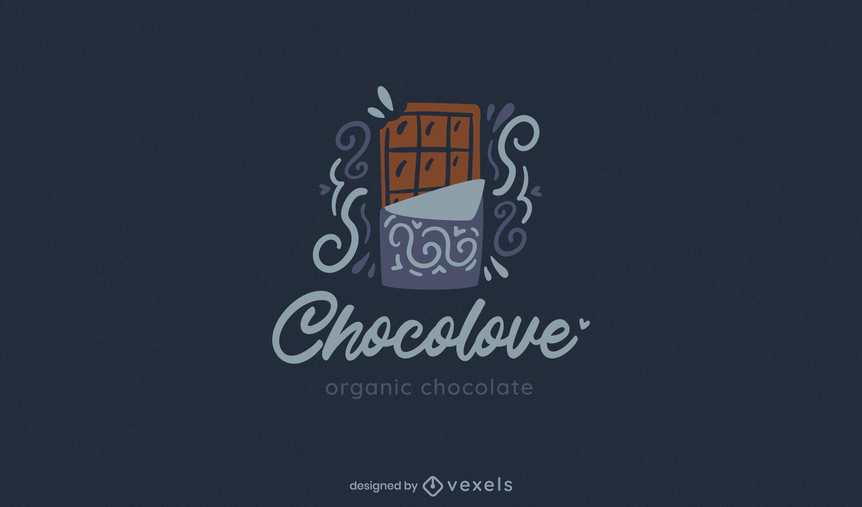 Barra de chocolate con logo plano swirly