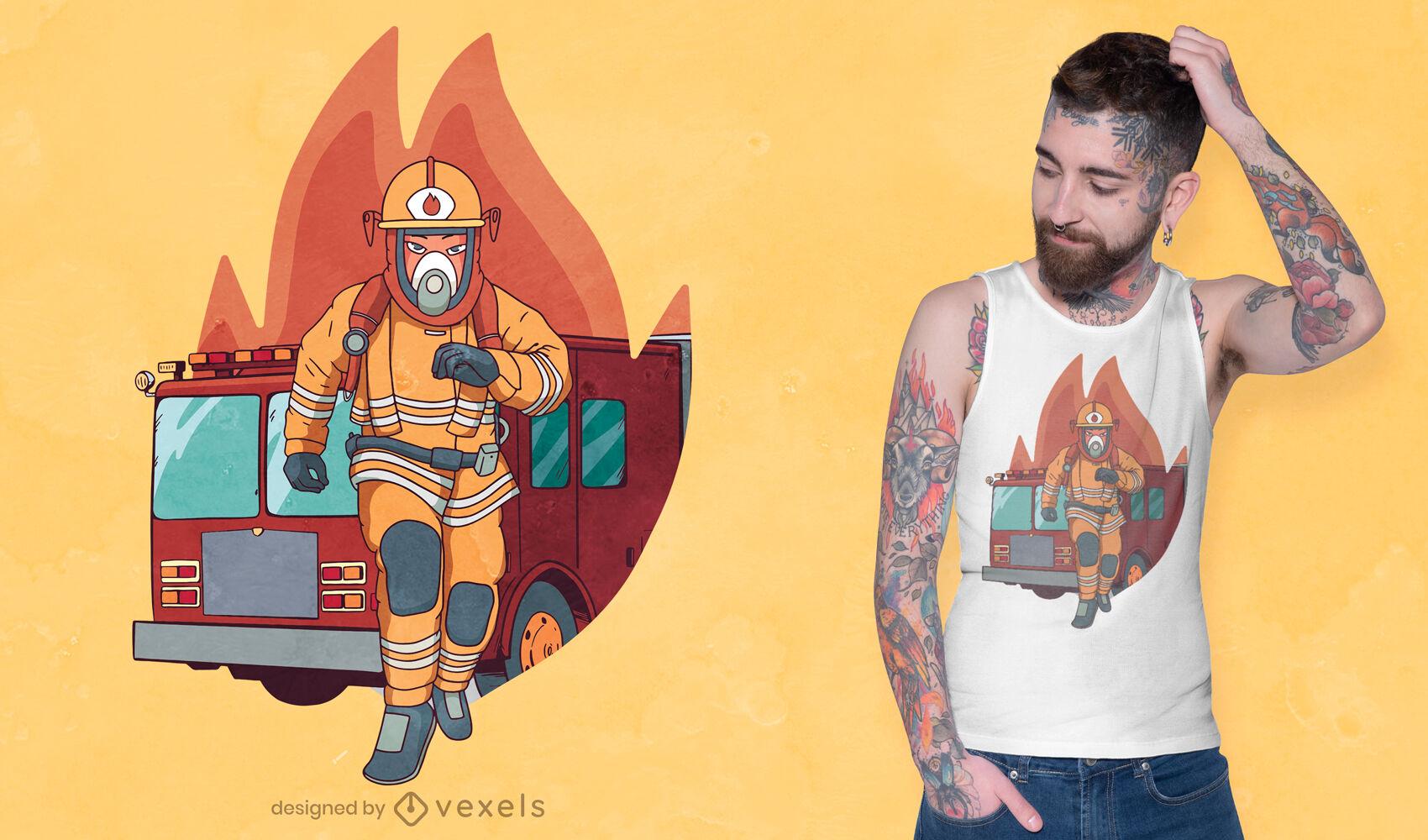 Bombeiro masculino executando design de camiseta