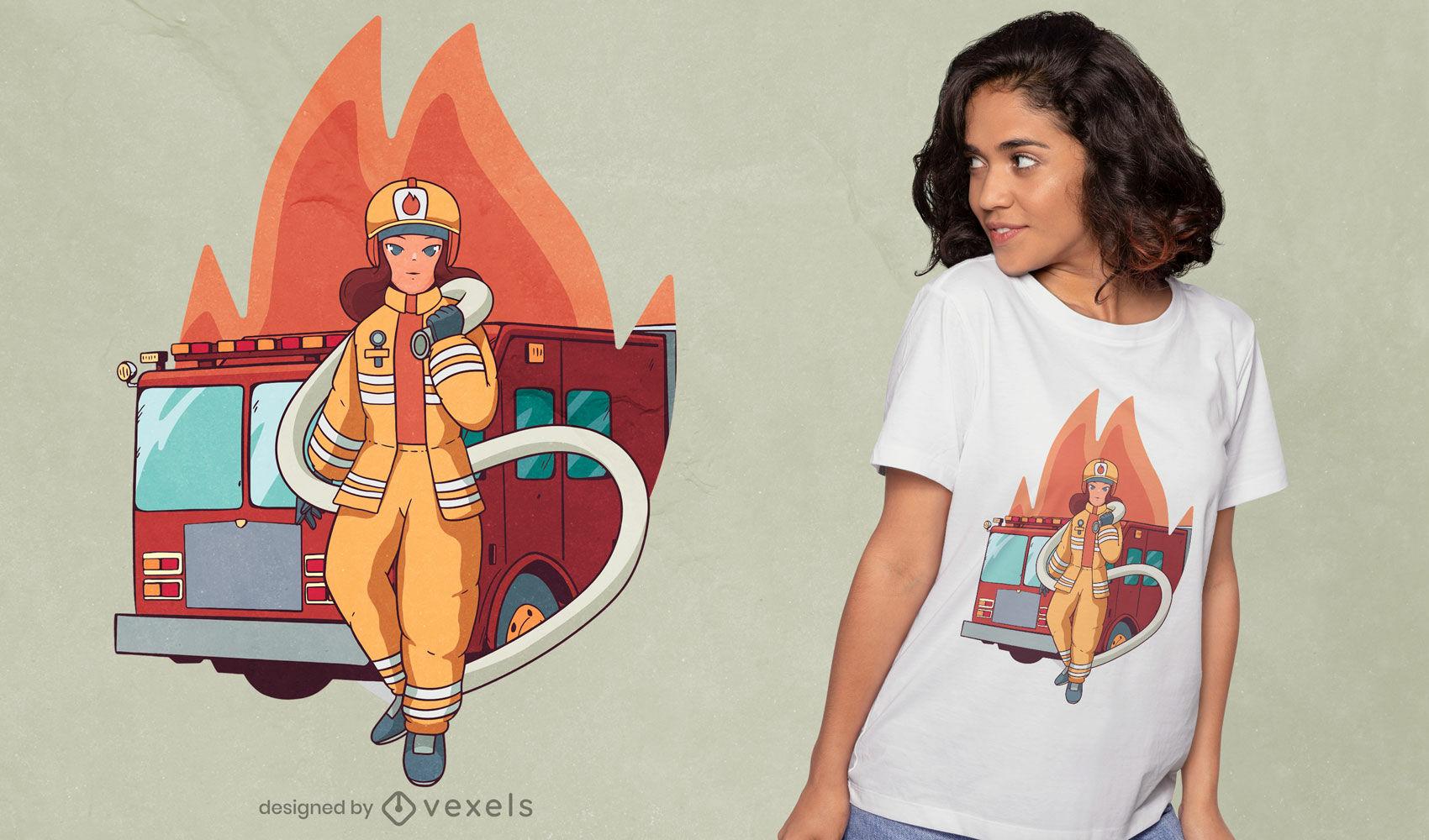 Diseño de camiseta de mujer bombero
