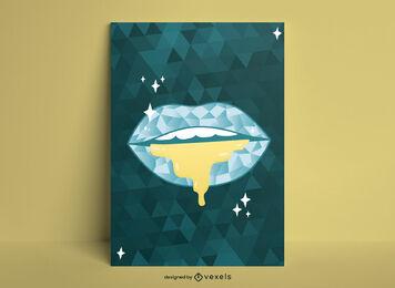 Diseño de cartel geométrico de labios de lujo.