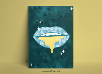 Luxury lips geometric poster design