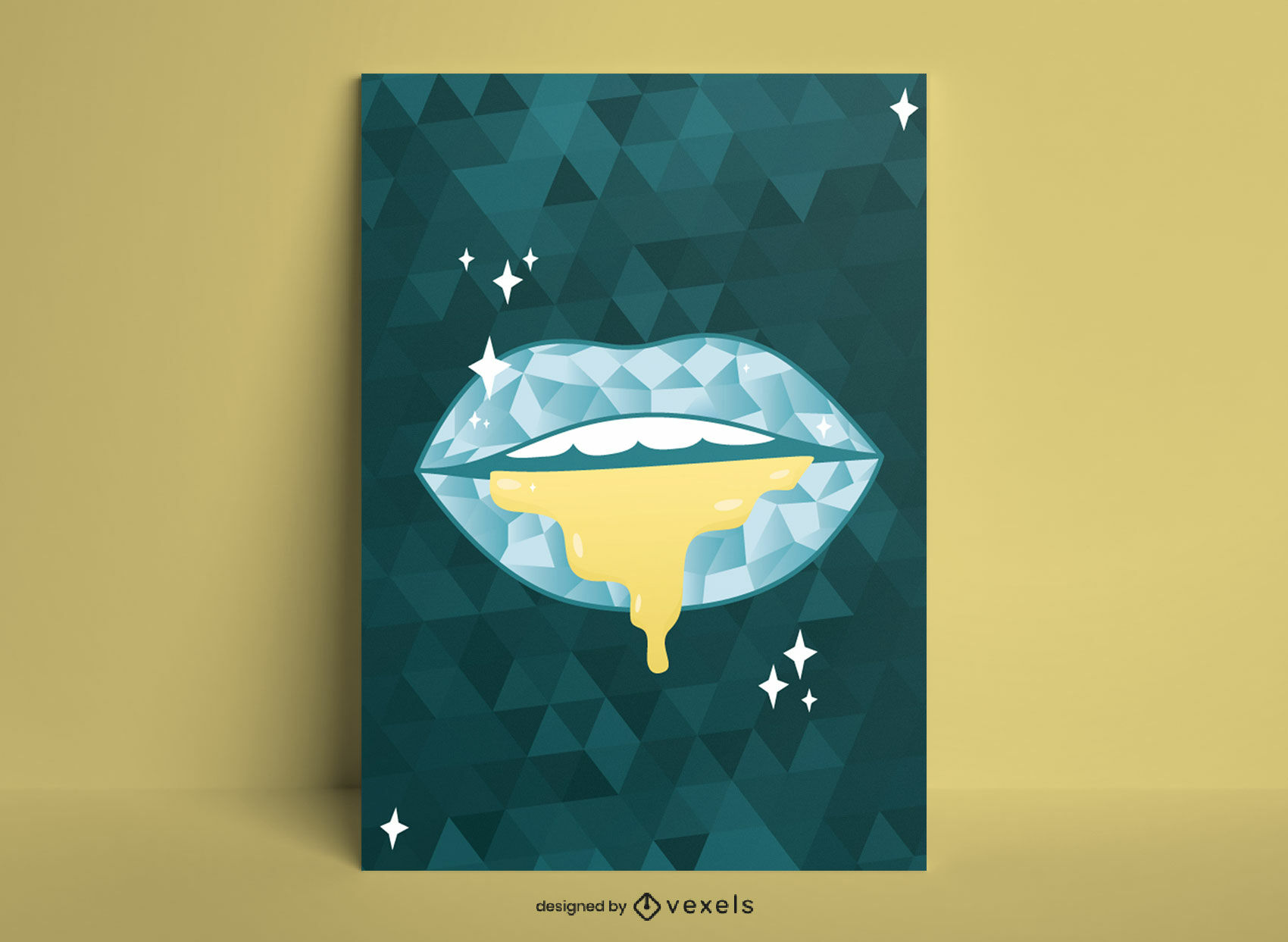 Design de pôster geométrico de lábios luxuosos