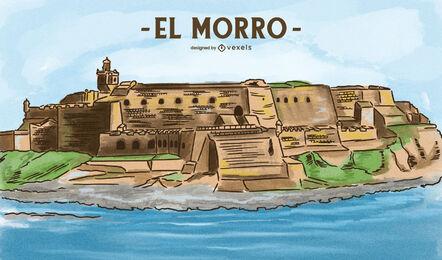 Old San Juan castle fortreess illustration