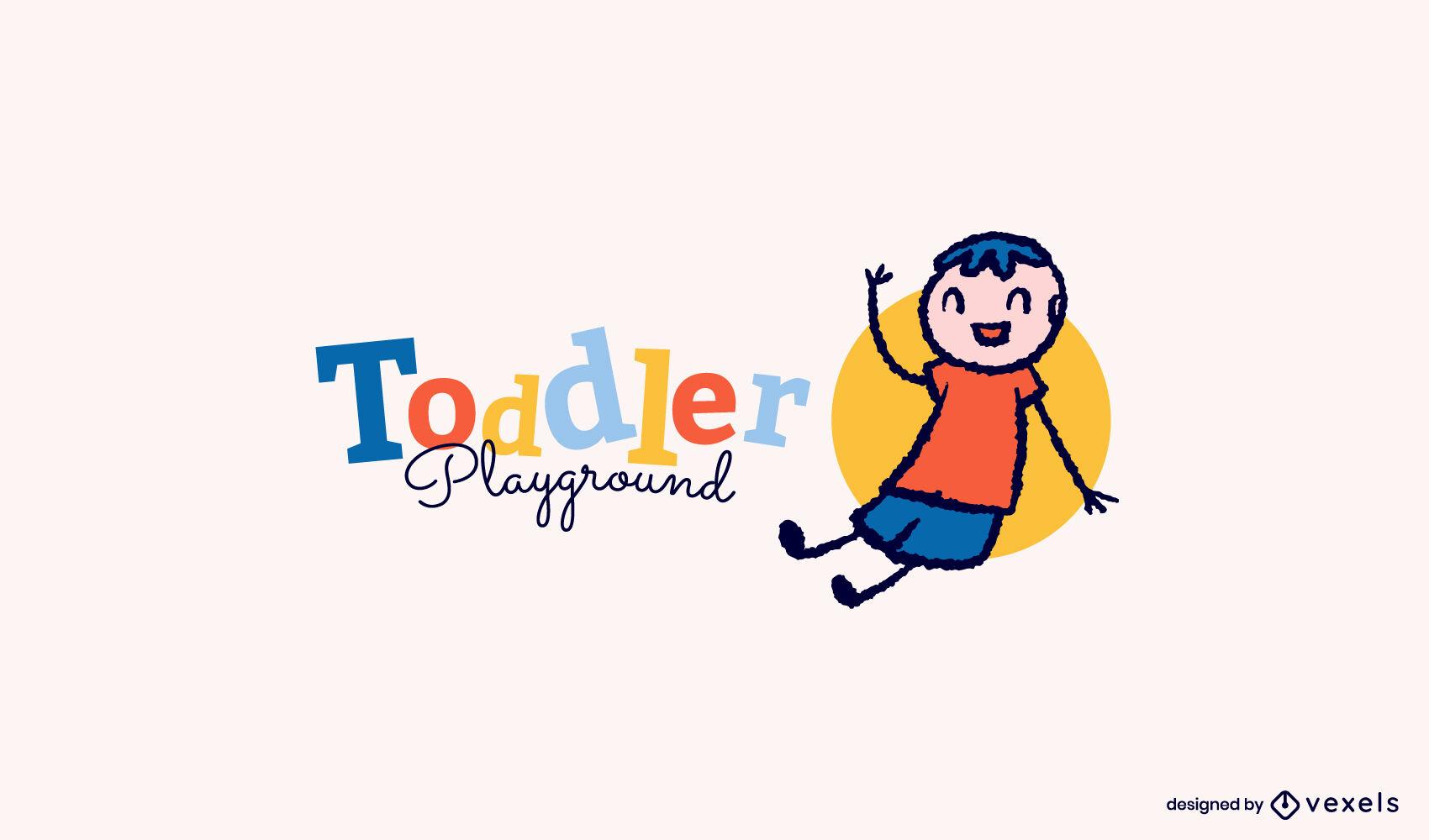 Sitting toddler doodle logo