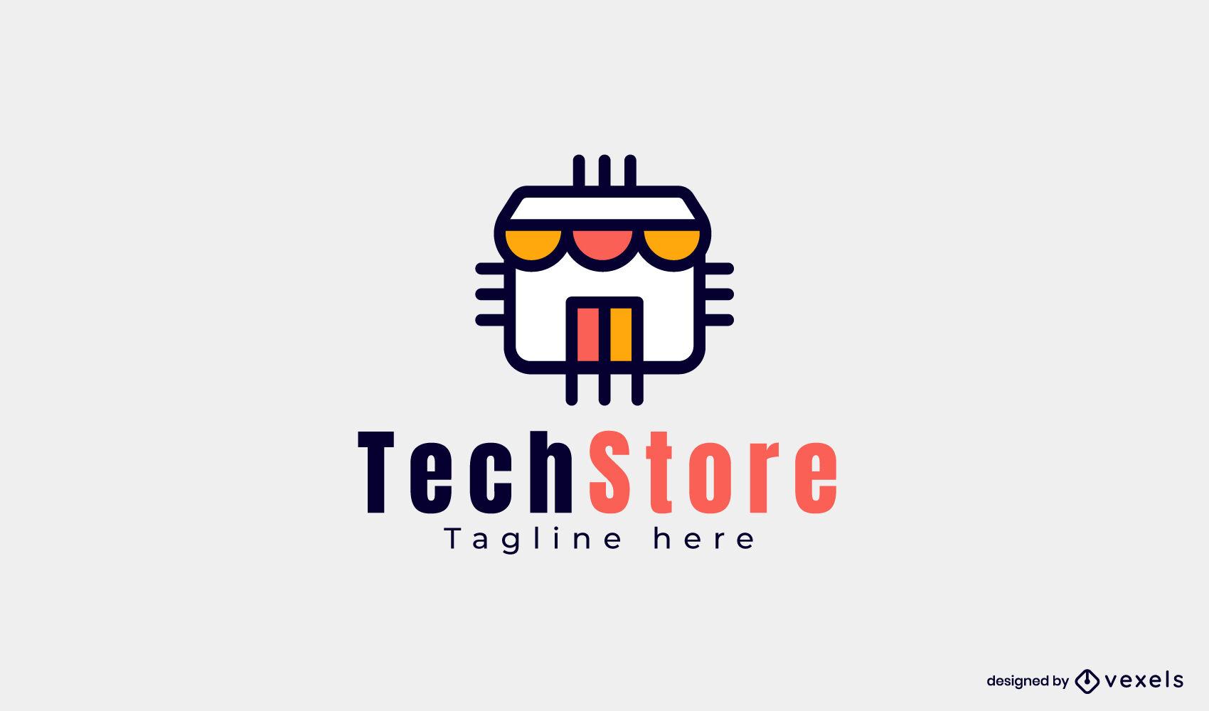 Plantilla de logotipo de tienda de tienda de tecnología