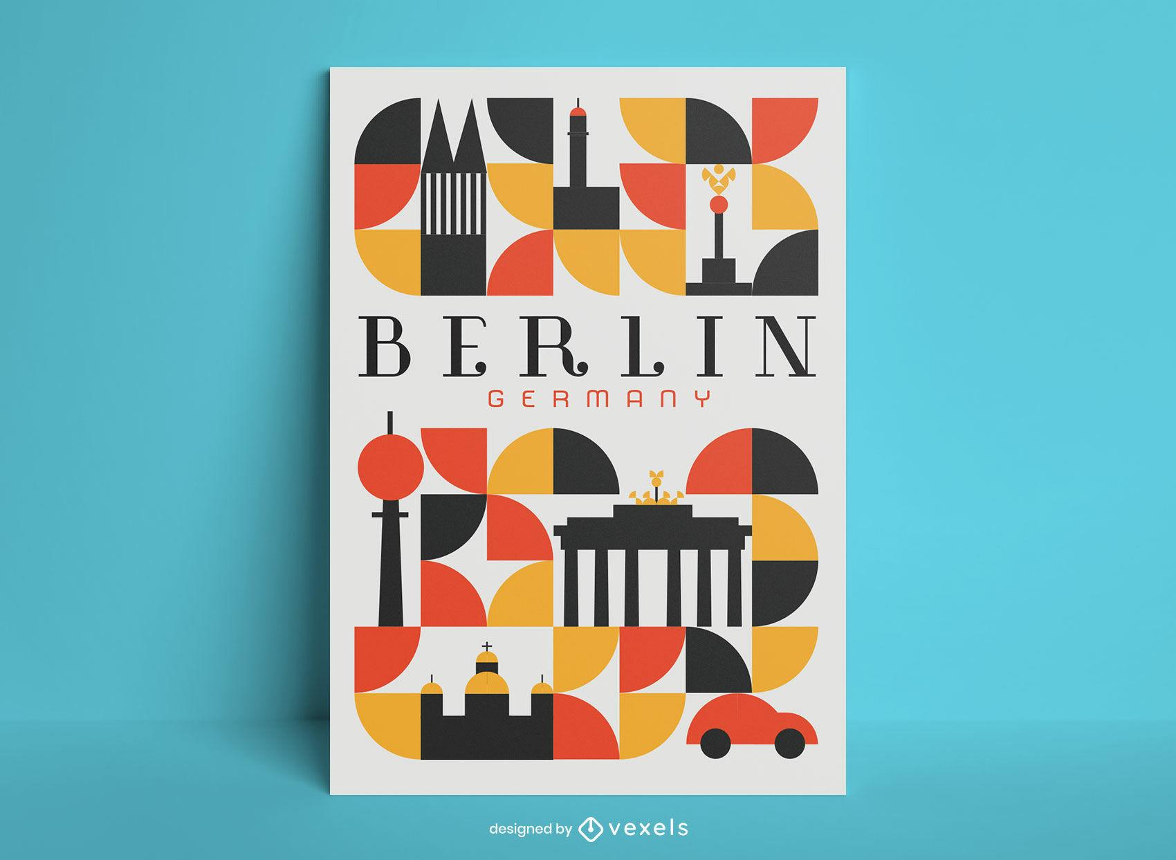 Cartel geométrico de la ciudad de Berlín