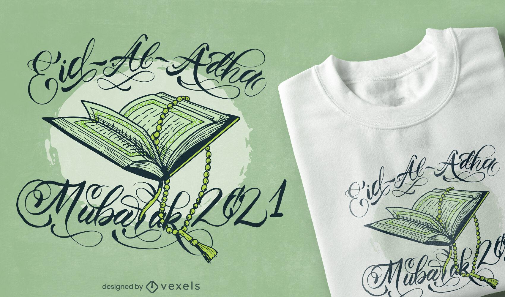 Diseño de camiseta de cita religiosa musulmana.