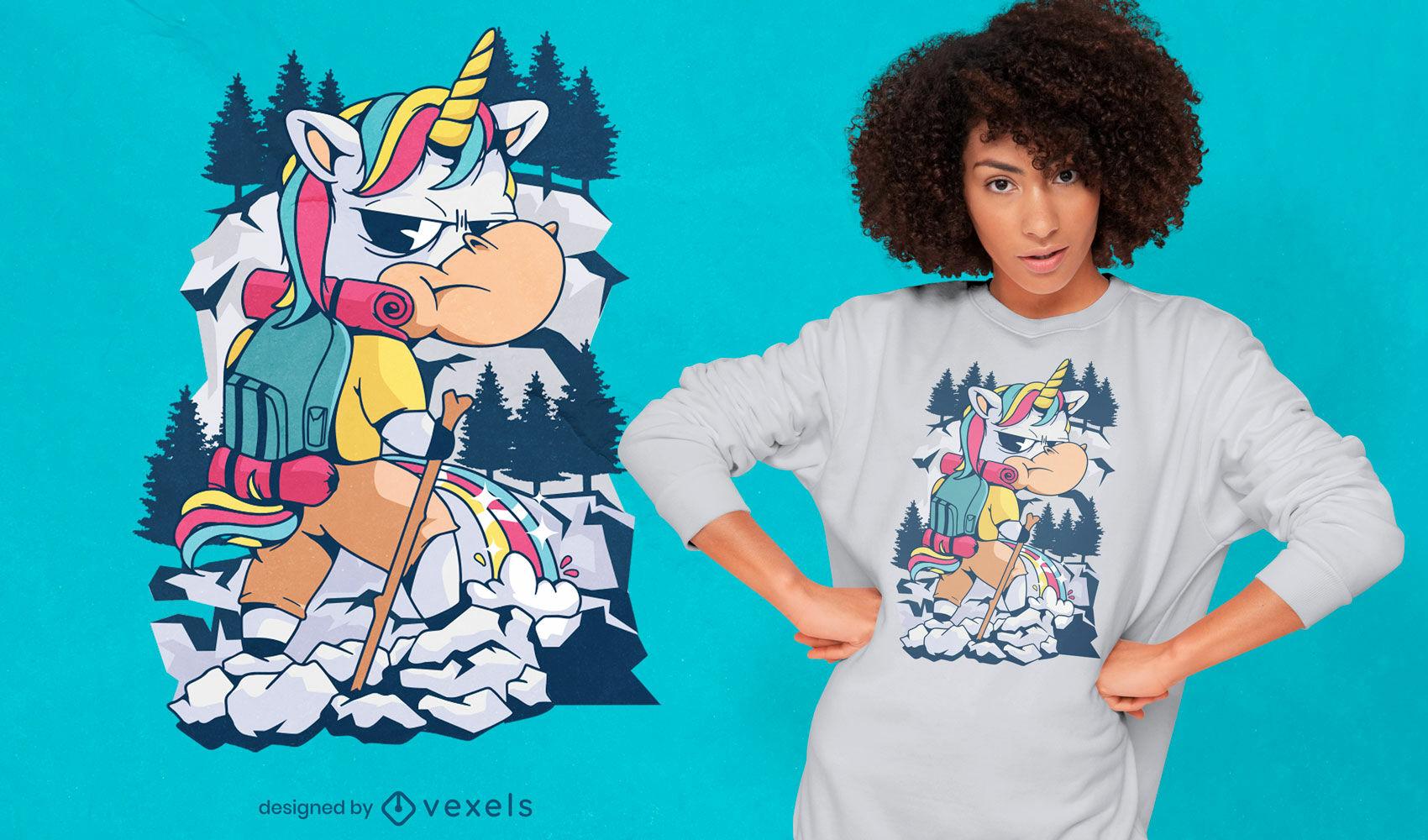 Cartoon unicorn hiking t-shirt design