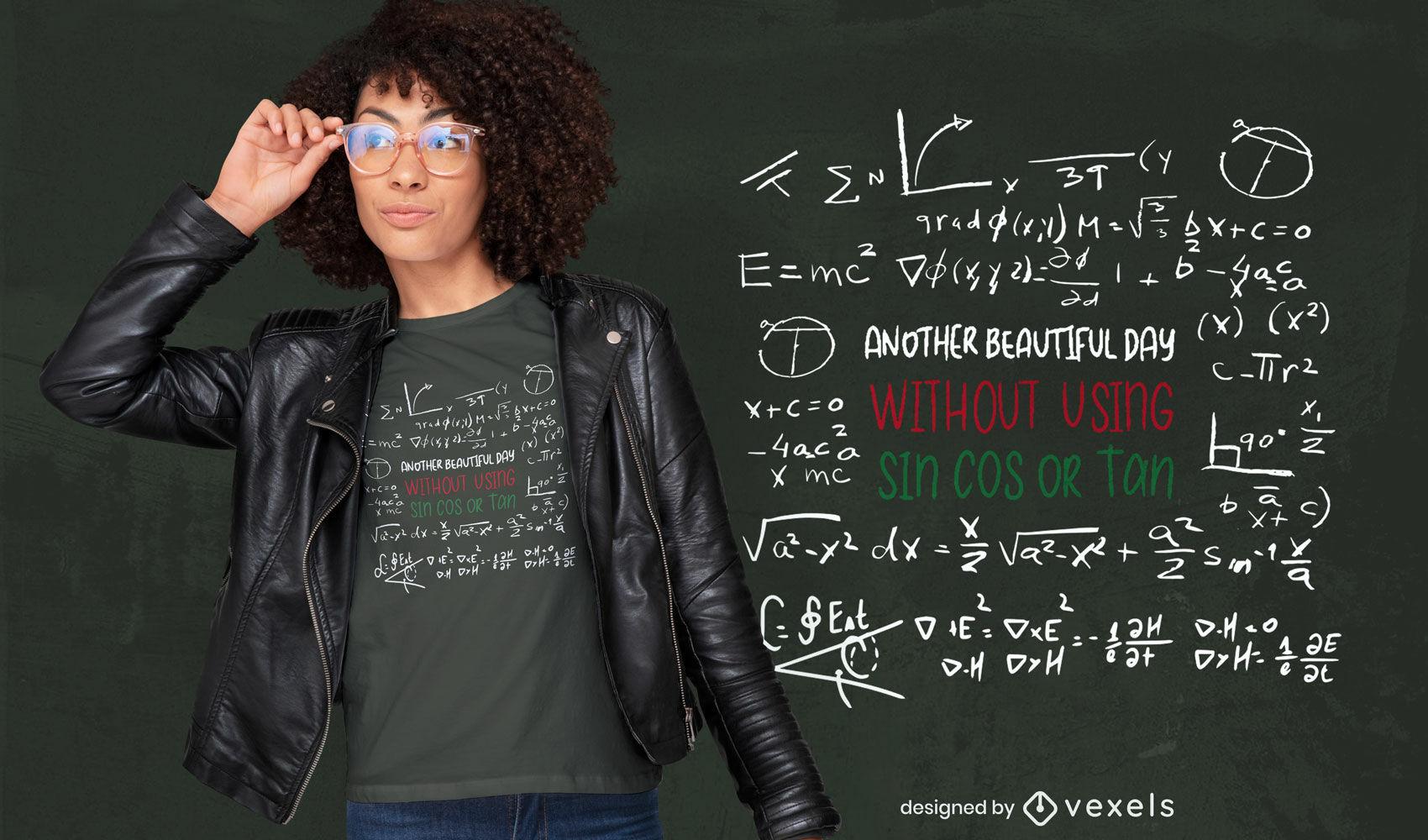 Diseño de camiseta de pizarra de ciencia matemática.
