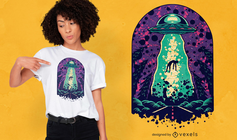 Diseño de camiseta alien abduction space.