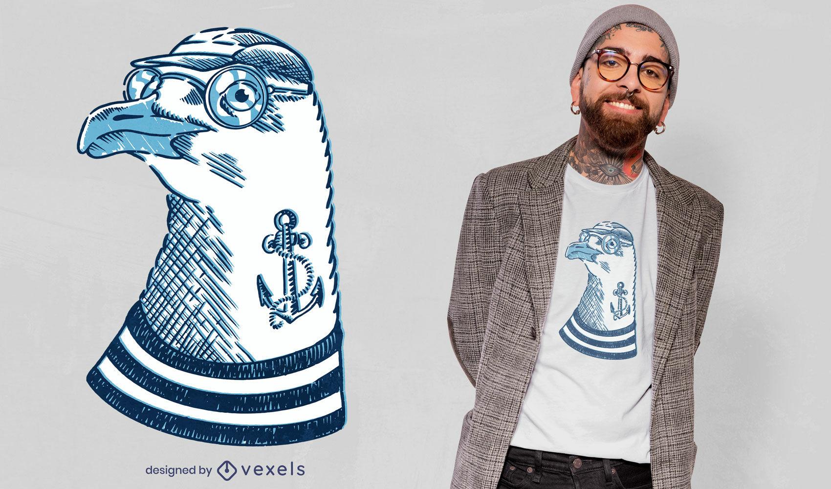 Diseño de camiseta animal pájaro gaviota hipster