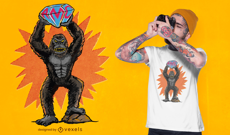 Gorila com design de camiseta de diamante grande